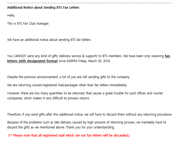 INFO] Bighit Ent  Additional Notice About Sending Fan