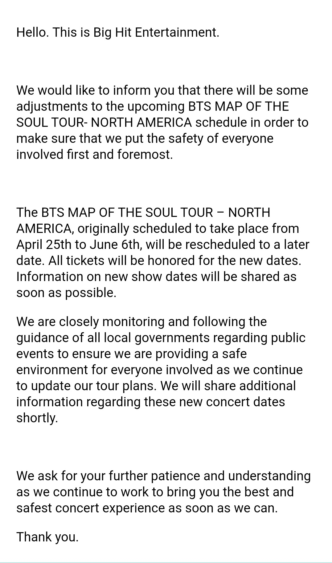 Notice Bts Map Of The Soul Tour North America 200327